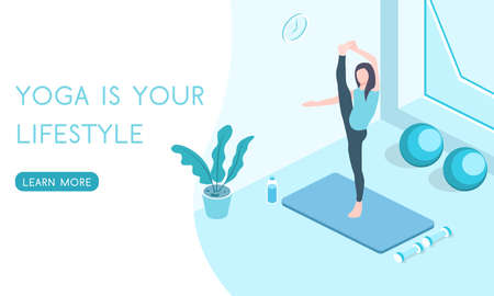 Landing for the website Yoga and Pilates classes, people play sports isometric 3D vector illustration. Иллюстрация