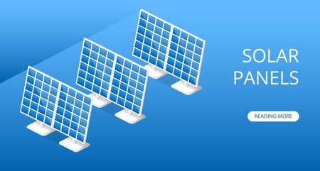 Landing website concept Solar panels for environmental protection vector 3D illustration isometric Ilustrace