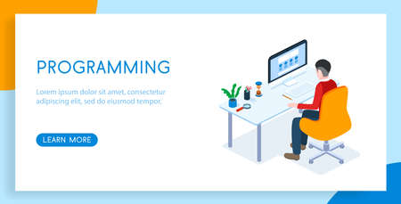 Isometric 3D vector illustration landing templates concept programmer at work. Workplace to work. Illustration