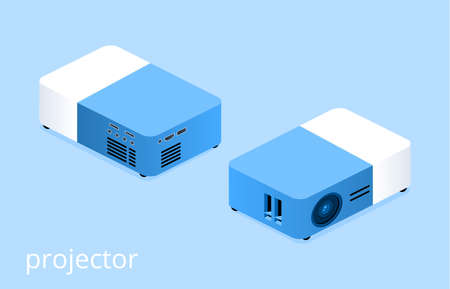 Isometric 3D vector illustration presentation projector. Front and back view.