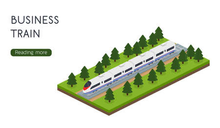 Isometric 3D vector illustration high speed train for landing site Illustration