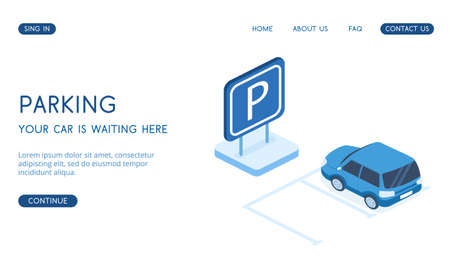 Modern Parking concept of landing page vector isometric 3D illustration.