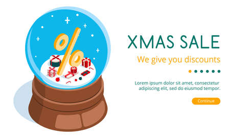 Isometric 3D vector illustration landing page snow globe with Christmas discount