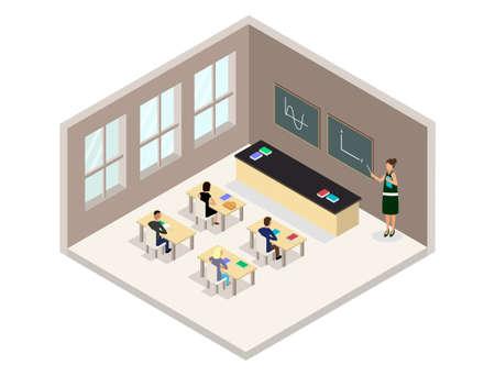 Illustration de salle de classe isométrique vectorielle. Comprend des pupitres, des tables, des chaises, des élèves et un enseignant.