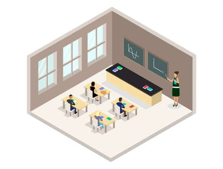 Vector isometric classroom illustraition. Includes schoold desks, tables, chairs, students and teacher.