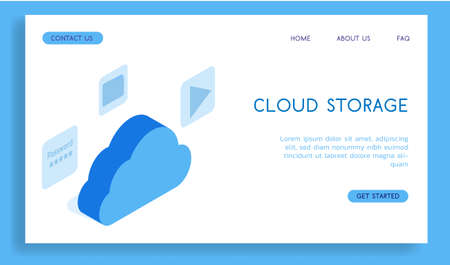Modern concept cloud storage vector isometric illustration. Illustration