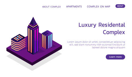 Isometric vector concept landing page smart city booking luxury complex 3d illustration.