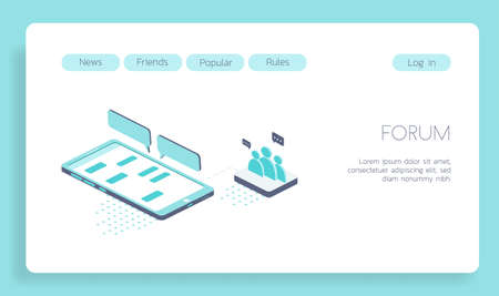 Isometric vector concept landing page mobile applications and social forum 3d illustration. Illustration