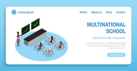 Vector isometric classroom illustraition. Includes schoold desks, tables, chairs, students and teacher. Illustration