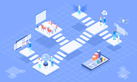 Isometric vector virtual platform office 3d illustration. Include platform office, people, work place, interface, smartphone.