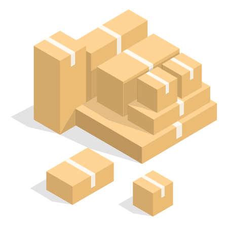 Stylish concept modern isometric vector Boxes illustration.
