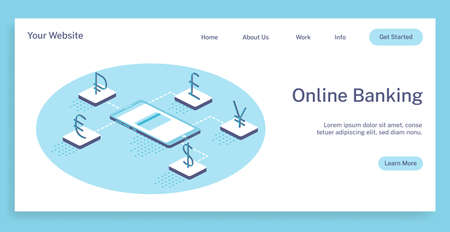 Isometric vector concept landing page online banking to save your money 3d illustration.