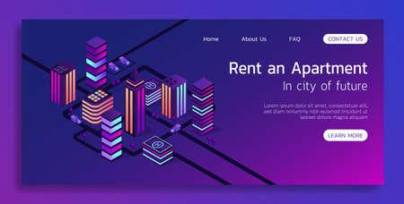 Isométrique vector concept landing page smart city et louer un appartement illustration 3d. Vecteurs