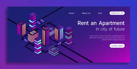 Isometric vector concept landing page smart city and rent an apartment 3d illustration. Illustration