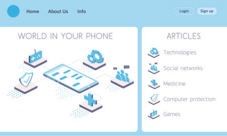 Isometric vector concept landing page world in ypur smartphone 3d illustration.