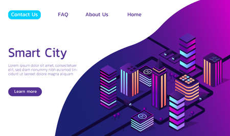 Isometric vector smart city 3d illustration. Include neon city, trees, roads, transport.