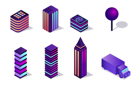 Isometric vector 3d illustration collection of elements for creating a neon city of the future Illustration