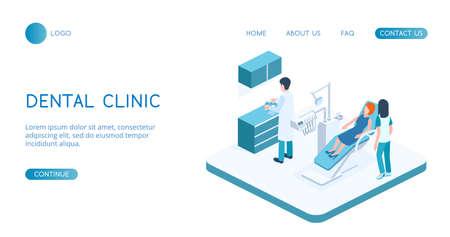 Modern Dental Clinic concept vector isometric illustration. Illustration