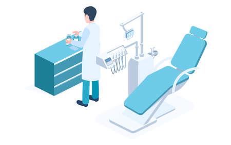 Modern Dental concept Clinic vector isometric illustration.