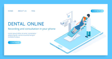Modern Dental Online concept vector isometric illustration. Standard-Bild - 137235526