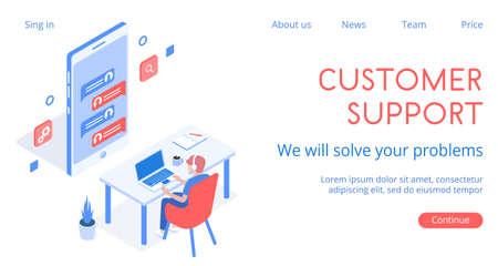 Stylish vector isometric 3d customers support illustration.