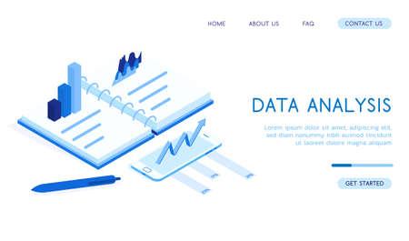 Stylish isometric 3d vector Data Analysis illustration. Good for business and technologies topics. Standard-Bild - 139277923