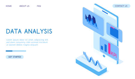 Stylish isometric 3d vector Data Analysis illustration. Good for business and technologies topics.