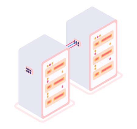 Modern isometric vector 3d server room and servers illustration.
