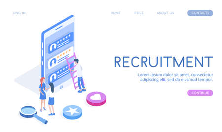 Modern vector isometric 3d Recruitment illustration. Good for business topics.