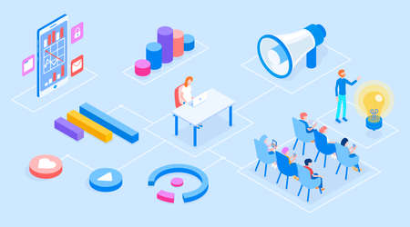 Modern marketing set of object with loudspeaker and people and diagrams vector isometric 3d illustration. Standard-Bild - 139278306