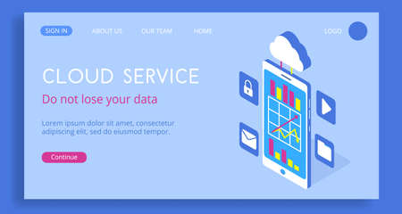 Modern isometric vector 3d cloud service with smartphone landing page. Illustration