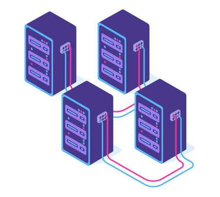 Modern server room with servers vector isometric 3d illustration.