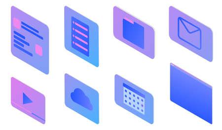 Stylish gradient isometric vector Web Design and UI UX design set of object illustration. Standard-Bild - 140628776