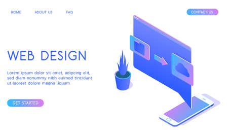 Stylish gradient isometric vector Web Design and UI UX design with smartphone illustration. Standard-Bild - 139279482