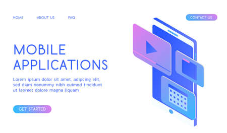 Stylish gradient isometric vector Web Design and UI UX design Mobile Applications illustration.
