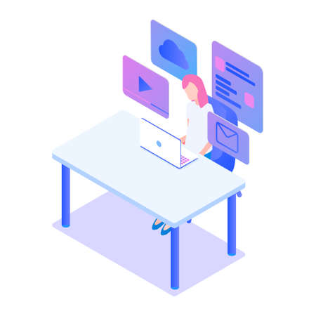 Stylish gradient isometric vector Web Design and UI UX design with workers illustration. Standard-Bild - 139278105