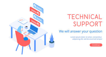 Stylish vector isometric 3D technical support for customers illustration.