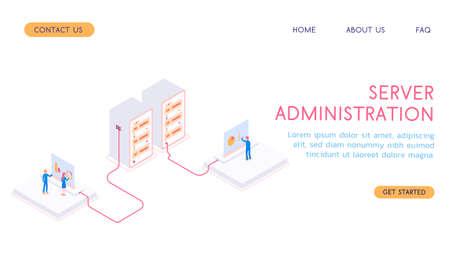 Modern isometric 3d vector server administration with workers and server illustration. Illustration