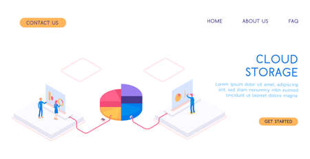 Modern isometric 3d vector cloud storage with workers illustration. Standard-Bild - 139280632