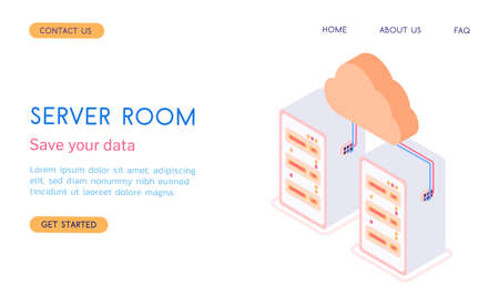 Modern isometric vector 3d server room with cloud and servers illustration.