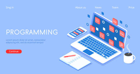 Stylish vector isometric 3d Programming, programmer at work illustration.