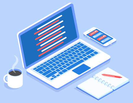 Stylish vector isometric 3d workspace for programming with laptop and cup of coffee illustration.
