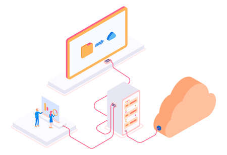 Modern isometric 3d vector cloud storage with servers and workers illustration.