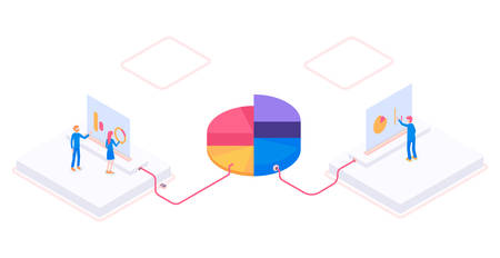 Modern isometric 3d vector cloud storage with workers illustration. Standard-Bild - 139291874