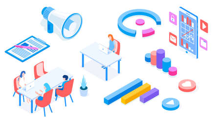 Modern marketing set of object with loudspeaker and people and diagrams vector isometric 3d illustration.