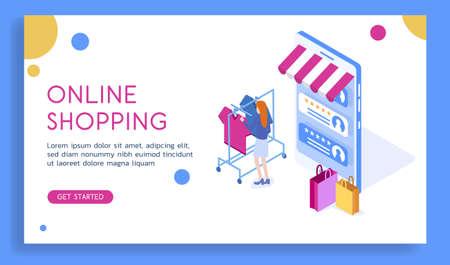 Modern vector isometric 3d online shopping in mobile app illustration. Illustration