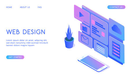 Stylish gradient isometric vector Web Design and UI UX design with smartphone illustration.
