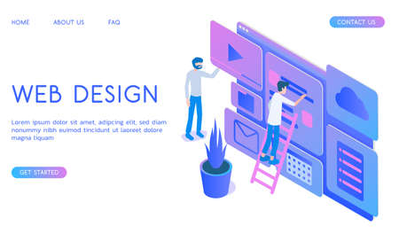 Stylish gradient isometric vector Web Design and UI UX design with designers illustration.