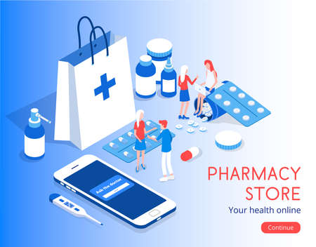 Modern vector isometric 3d Pharmacy Store with patient illustration. Illustration