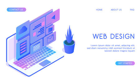 Stylish gradient isometric vector Web Design and UI UX design with laptop illustration.